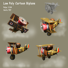 Low poly WW1 cartoon Biplane 3D Model