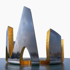 Skyscraper Gold Glass 3D Model