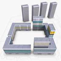 Residential Complex Buildings 3D Model