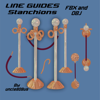 LineGuides_Stanchions FBX OBJ 3D Model