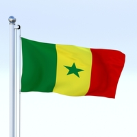 Animated Senegal Flag 3D Model