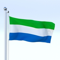Animated Sierra Leone Flag 3D Model