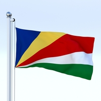 Animated Seychelles Flag 3D Model