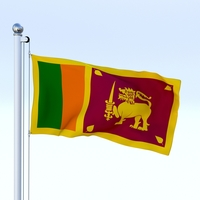 Animated Sri Lanka Flag 3D Model