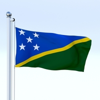 Animated Solomon Islands Flag 3D Model