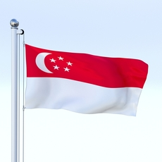 Animated Singapore Flag 3D Model