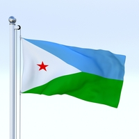 Animated Djibouti Flag 3D Model