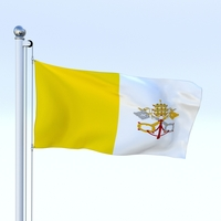 Animated Vatican City Flag 3D Model