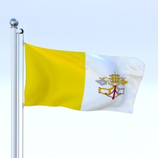 Animated Vatican City Flag 3D Model