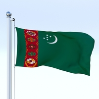 Animated Turkmenistan Flag 3D Model
