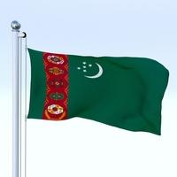 Animated Turkmenistan Flag 3D Model