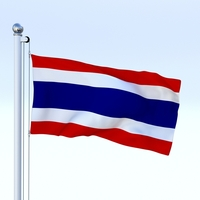 Animated Thailand Flag 3D Model