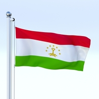 Animated Tajikistan Flag 3D Model