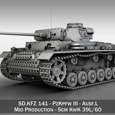 PzKpfw III - Panzerkampfwagen III - Ausf.L 3D Model