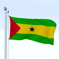 Animated Sao Tome and Principe Flag 3D Model