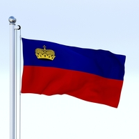 Animated Liechtenstein Flag 3D Model