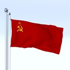 Animated Soviet Union Flag 3D Model