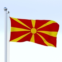 Animated Macedonia Flag 3D Model