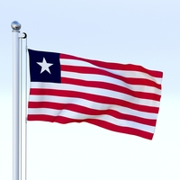 Animated Liberia Flag 3D Model