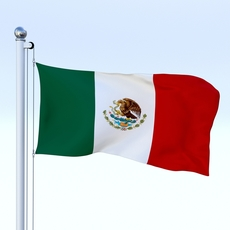 Animated Mexico Flag 3D Model