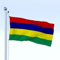 Animated Mauritius Flag 3D Model
