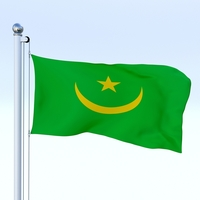 Animated Mauritania Flag 3D Model