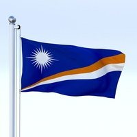 Animated Marshall Islands Flag 3D Model