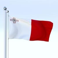 Animated Malta Flag 3D Model