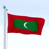 Animated Maldives Flag 3D Model