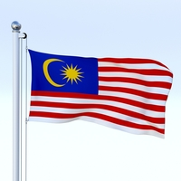 Animated Malaysia Flag 3D Model