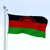 Animated Malawi Flag 3D Model