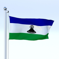 Animated Lesotho Flag 3D Model