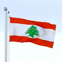 Animated Lebanon Flag 3D Model