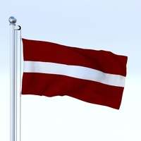 Animated Latvia Flag 3D Model