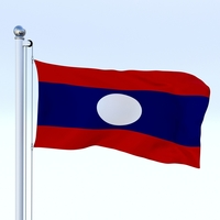 Animated Laos Flag 3D Model