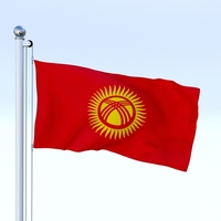 Animated Kyrgyzstan Flag 3D Model