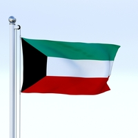 Animated Kuwait Flag 3D Model
