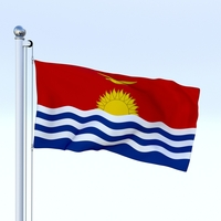 Animated Kiribati Flag 3D Model