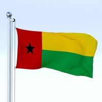 Animated Guinea-Bissau Flag 3D Model