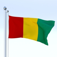 Animated Guinea Flag 3D Model