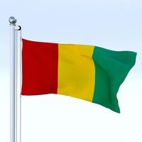 Animated Guinea Flag 3D Model