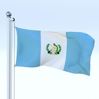 Animated Guatemala Flag 3D Model