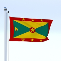 Animated Grenada Flag 3D Model