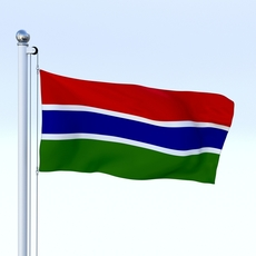 Animated Gambia Flag 3D Model