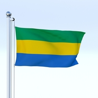 Animated Gabon Flag 3D Model