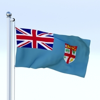 Animated Fiji Flag 3D Model