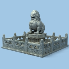 Chinese Lion Statue 3D Model