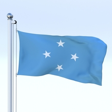 Animated Federated States of Micronesia Flag 3D Model