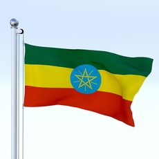 Animated Ethiopia Flag 3D Model