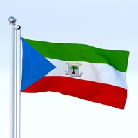Animated Equatorial Guinea Flag 3D Model